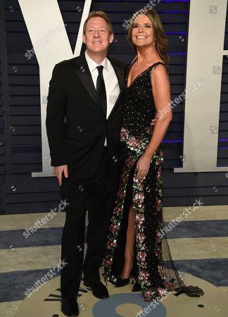 Savannah Guthrie, Michael Feldman. Savannah Guthrie, right, and Michael Feldman arrive at the Vanity Fair Oscar Party, in Beverly Hills, Calif
