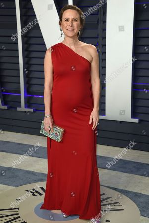 Anne Wojcicki arrives at the Vanity Fair Oscar Party, in Beverly Hills, Calif