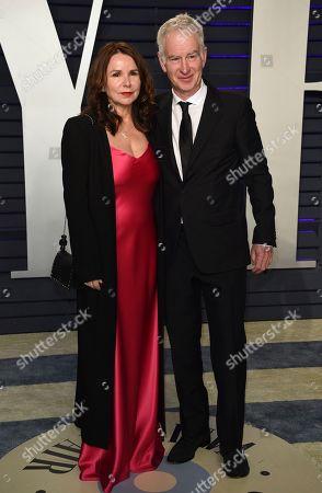 John McEnroe, Patty Smyth. Patty Smyth, left, and John McEnroe arrive at the Vanity Fair Oscar Party, in Beverly Hills, Calif