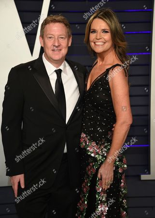 Stock Photo of Savannah Guthrie, Michael Feldman. Savannah Guthrie, right, and Michael Feldman arrive at the Vanity Fair Oscar Party, in Beverly Hills, Calif