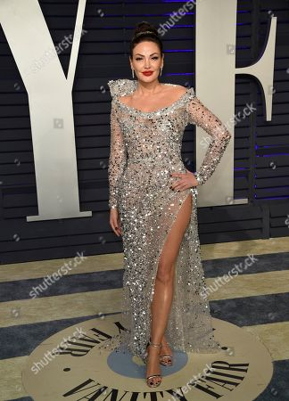 Bleona Qereti arrives at the Vanity Fair Oscar Party, in Beverly Hills, Calif