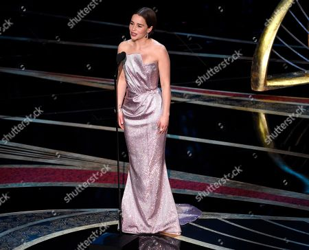 Stock Picture of Emilia Clark introduces a performance by Jennifer Hudson at the Oscars, at the Dolby Theatre in Los Angeles
