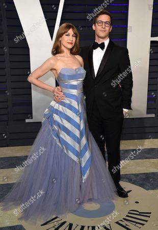 Andy Samberg, Joanna Newsom. Andy Samberg, right, and Joanna Newsom arrive at the Vanity Fair Oscar Party, in Beverly Hills, Calif