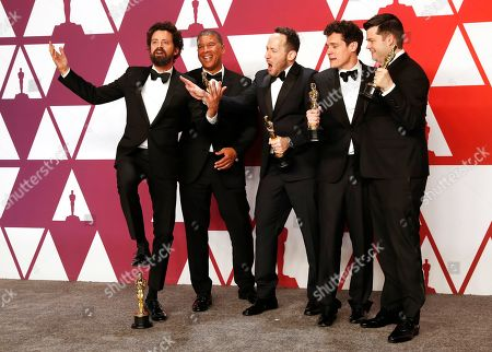 Bob Persichetti, Peter Ramsey, Rodney Rothman, Phil Lord and Christopher Miller winners of the Animated Feature Film Award for 'Spider-Man: Into The Spider-Verse'' pose in the press room during the 91st annual Academy Awards ceremony at the Dolby Theatre in Hollywood, California, USA, 24 February 2019. The Oscars are presented for outstanding individual or collective efforts in 24 categories in filmmaking.