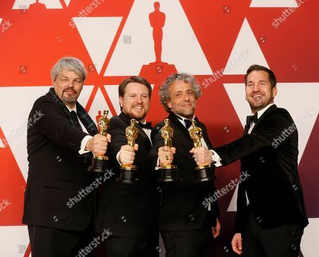 Ian Hunter, Tristan Myles, Paul Lambert and J.D. Schwalm winners of the Visual Effects Award for 'First Man' pose in the press room during the 91st annual Academy Awards ceremony at the Dolby Theatre in Hollywood, California, USA, 24 February 2019. The Oscars are presented for outstanding individual or collective efforts in 24 categories in filmmaking.