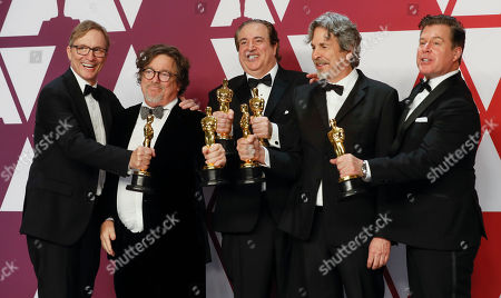 Jim Burke (L) Charles B. Wessler (2L) Nick Vallelonga (L) Peter Farrelly (C) and Brian Currie (R) winners Best Original Screenplay for 'Green Book' pose in the press room during the 91st annual Academy Awards ceremony at the Dolby Theatre in Hollywood, California, USA, 24 February 2019. The Oscars are presented for outstanding individual or collective efforts in 24 categories in filmmaking.