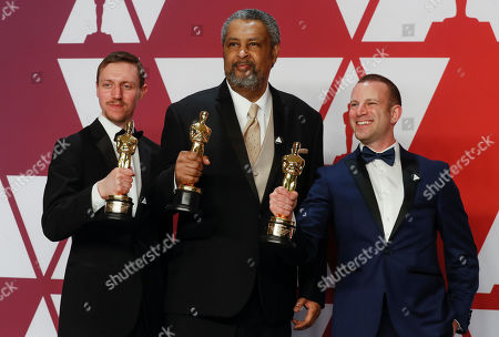 David Rabinowitz (L) Kevin Willmott (C) and Charlie Wachtel(R) winners of the Best Adapted Screenplay Award for 'BlacKkKlansman' pose in the press room during the 91st annual Academy Awards ceremony at the Dolby Theatre in Hollywood, California, USA, 24 February 2019. The Oscars are presented for outstanding individual or collective efforts in 24 categories in filmmaking.
