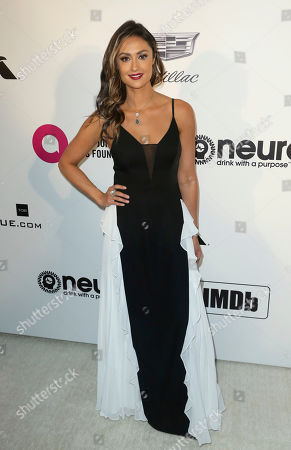 Katie Cleary arrives at the 2019 Elton John AIDS Foundation Oscar Viewing Party, in West Hollywood, Calif