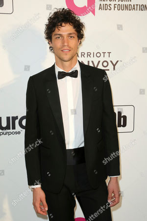 Miles McMillan arrives at the 2019 Elton John AIDS Foundation Oscar Viewing Party, in West Hollywood, Calif