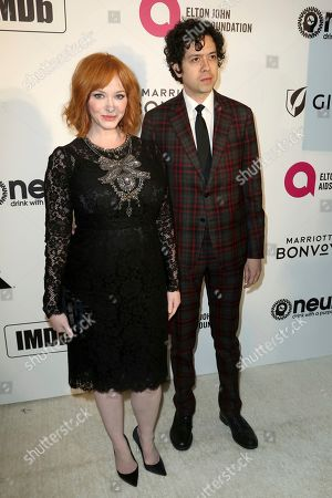 Christina Hendricks, Geoffrey Arend. Christina Hendricks, left, and Geoffrey Arend arrive at the 2019 Elton John AIDS Foundation Oscar Viewing Party, in West Hollywood, Calif