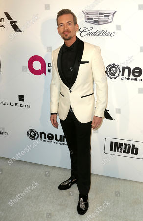 Damon Sharpe arrives at the 2019 Elton John AIDS Foundation Oscar Viewing Party, in West Hollywood, Calif