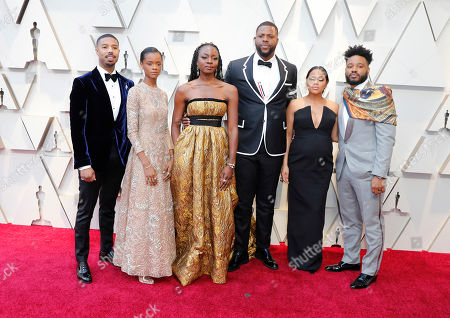 Michael B. Jordan (L) Letitia Wright (2L) Danai Gurira (3L) Winston Duke (3R) Zinzi Evans (2R) and Ryan Coogler (R) arrive for the 91st annual Academy Awards ceremony at the Dolby Theatre in Hollywood, California, USA, 24 February 2019. The Oscars are presented for outstanding individual or collective efforts in 24 categories in filmmaking.