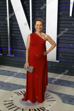 Stock Photo of Anne Wojcicki poses at the 2019 Vanity Fair Oscar Party following the 91st annual Academy Awards ceremony, in Beverly Hills, California, USA, 24 February 2019. The Oscars are presented for outstanding individual or collective efforts in 24 categories in filmmaking. The Oscars are presented for outstanding individual or collective efforts in 24 categories in filmmaking.