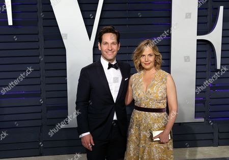 Paul Rudd (L) and Julie Yaeger (R) pose at the 2019 Vanity Fair Oscar Party following the 91st annual Academy Awards ceremony, in Beverly Hills, California, USA, 24 February 2019. The Oscars are presented for outstanding individual or collective efforts in 24 categories in filmmaking. The Oscars are presented for outstanding individual or collective efforts in 24 categories in filmmaking.