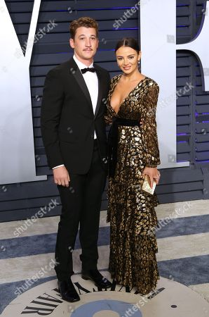 Miles Teller (L) and Keleigh Sperry pose at the 2019 Vanity Fair Oscar Party following the 91st annual Academy Awards ceremony, in Beverly Hills, California, USA, 24 February 2019. The Oscars are presented for outstanding individual or collective efforts in 24 categories in filmmaking.