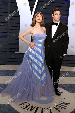 Joanna Newsom (L) and Andy Samberg attend at the 2019 Vanity Fair Oscar Party following the 91st annual Academy Awards ceremony, in Beverly Hills, California, USA, 24 February 2019. The Oscars are presented for outstanding individual or collective efforts in 24 categories in filmmaking.