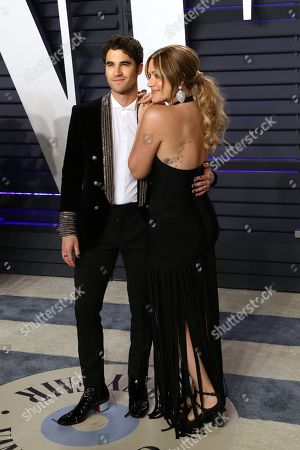 Darren Criss (L) and Mia Swier attend the 2019 Vanity Fair Oscar Party following the 91st annual Academy Awards ceremony, in Beverly Hills, California, USA, 24 February 2019. The Oscars are presented for outstanding individual or collective efforts in 24 categories in filmmaking.
