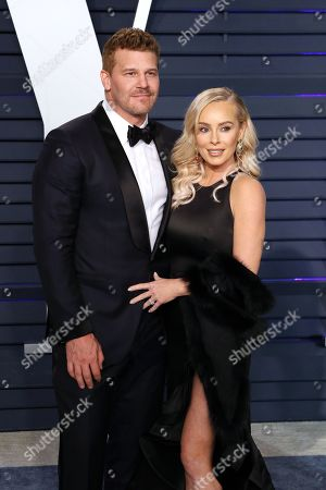 David Boreanaz (L) and Jaime Bergman attend the 2019 Vanity Fair Oscar Party following the 91st annual Academy Awards ceremony, in Beverly Hills, California, USA, 24 February 2019. The Oscars are presented for outstanding individual or collective efforts in 24 categories in filmmaking.