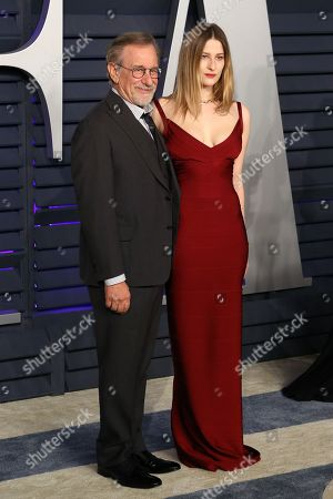 Stock Picture of Steven Spielberg (L) and Sasha Spielberg attend the 2019 Vanity Fair Oscar Party following the 91st annual Academy Awards ceremony, in Beverly Hills, California, USA, 24 February 2019. The Oscars are presented for outstanding individual or collective efforts in 24 categories in filmmaking.