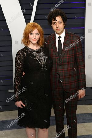Stock Picture of Christina Hendricks and Geoffrey Arend attend the 2019 Vanity Fair Oscar Party following the 91st annual Academy Awards ceremony, in Beverly Hills, California, USA, 24 February 2019. The Oscars are presented for outstanding individual or collective efforts in 24 categories in filmmaking.