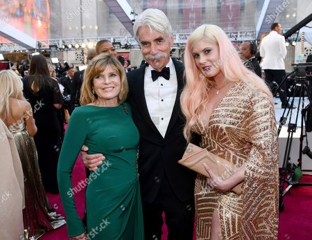 Stock Image of Cleo Rose Elliott, Sam Elliot, Katharine Ross. Katharine Ross, from left, Sam Elliott and Cleo Rose Elliott arrive at the Oscars, at the Dolby Theatre in Los Angeles