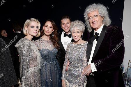 Stock Picture of Lucy Boynton, Jessica Leech, Allen Leech, Anita Dobson and Brian May