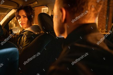 Ep 9704 Wednesday 27th February 2019 - 1st Ep As Shona Ramsey, as played by Julia Goulding, climbs in David's car, Clayton Hibbs, as played by Callum Harrison, gets into the back and orders her to follow his instructions and drive.