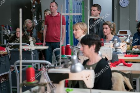 Ep 9718 & 9719 Friday 15th March 2019 Nick Tilsley confronts Carla Connor about her intention to outsource production. Nick storms onto the factory floor and announces Carla's plans to the workforce. As they instantly fear for their jobs, Carla feels all eyes on her. With Kirk Sutherland, as played by Andy Whyment ; Sally Metcalfe, as played by Sally Dynevor.