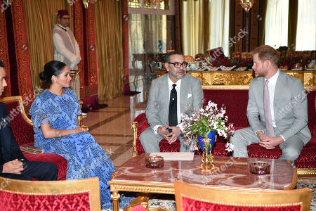 Prince Harry and Meghan Duchess of Sussex meet with King Mohammed VI of Morocco and Crown Prince Moulay Hassan at the King's Residence