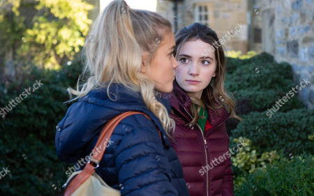 Ep 8416 Wednesday 13th March 2019 Bernice Blackstock moves an excited Liam Cavanagh into Brook Cottage, whilst Gabby Thomas, as played by Rosie Bentham, and Leanna Cavanagh, as played by Mimi Slinger, are horrified they'll be sharing rooms.