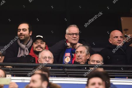 Stock Picture of Celebrities in the grandstand Manuel Valls, Kev Adams, Gerard Colomb, Jean-Michel Aulas, Bernard Lacombe and Thierry Fremont