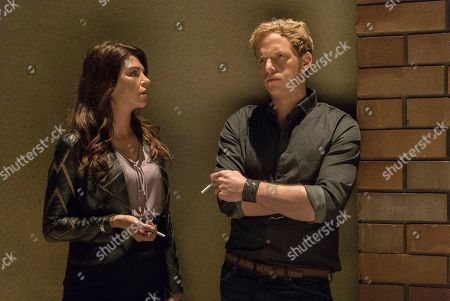 Amy Pietz as Adrienne and Chris Geere as Jimmy