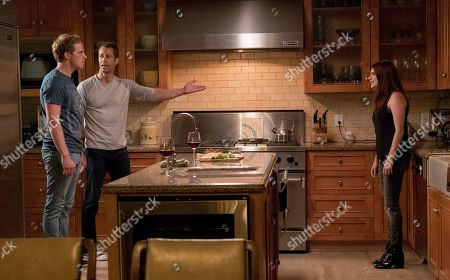 Stock Picture of Chris Geere as Jimmy, Colin Ferguson as Boone and Aya Cash as Gretchen