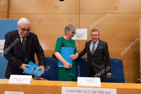 Jean-Pierre Sueur Co-rapporteurs of the Senate commision with Muriel Jourda and President of France's Senate Law Commission Philippe Bas release the results of the Senate Law Investigation about scandal Benalla