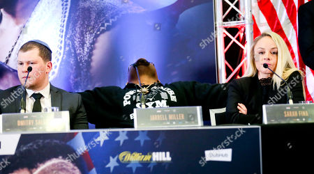 Jarrell Miller appears bored and leans back - Anthony Joshua & Jarrell Miller Press Conference ahead of their fight at Madison Square Garden on 01/06/2019 Anthony Joshua & Jarrell Miller Press Conference ahead of their fight on 01/06/2019 at Madison Square Garden.