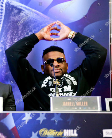 Jarrell Miller appears bored and leans back Anthony Joshua & Jarrell Miller Press Conference ahead of their fight at Madison Square Garden on 01/06/2019 Anthony Joshua & Jarrell Miller Press Conference ahead of their fight on 01/06/2019 at Madison Square Garden.