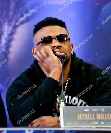 Stock Image of Jarrell Miller appears bored - Anthony Joshua & Jarrell Miller Press Conference ahead of their fight at Madison Square Garden on 01/06/2019 Anthony Joshua & Jarrell Miller Press Conference ahead of their fight on 01/06/2019 at Madison Square Garden.