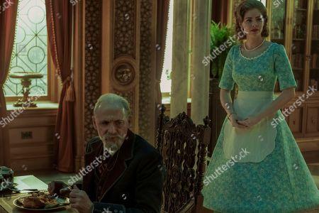 Colm Feore as Sir Reginald Hargreeves and Jordan Robbins as Grace
