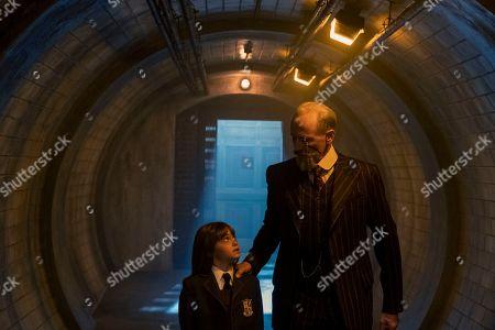 Alyssa Gervasi as Young Vanya and Colm Feore as Sir Reginald Hargreeves