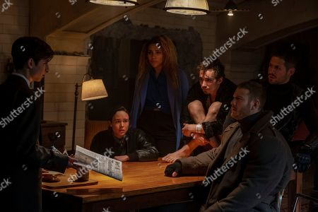 Aidan Gallagher as Number Five, Ellen Page as Vanya Hargreeves, Emmy Raver-Lampman as Allison Hargreeves, Robert Sheehan as Klaus Hargreeves, Tom Hopper as Luther Hargreeves and David Castaneda as Diego Hargreeves