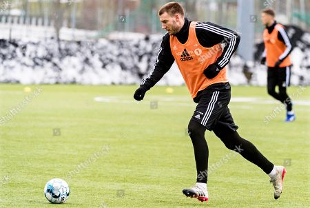 Rosenborg's Danish striker Nicklas Bendtner performs during his team's training session in Trondheim, Norway, 25 February 2019. Bendtner returned to Trondheim after serving a 50-day sentence for assaulting a taxi driver in Denmark.