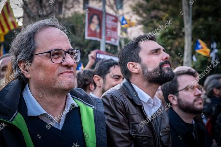 President of the Government of Catalonia Joaquim Torra is seen with other authorities at the head of the demonstration