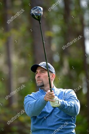 John Smoltz watches his tee shot on the second hole during the final round of the Tournament of Champions LPGA golf tournament, in Lake Buena Vista, Fla