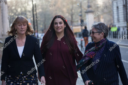 Stock Picture of Joan Ryan, Luciana Berger and Ann Coffey leave the first meeting of the Independent Group