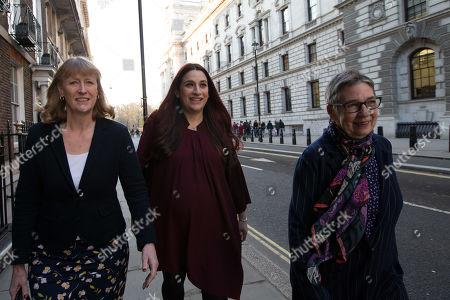 Joan Ryan, Luciana Berger and Ann Coffey leave the first meeting of the Independent Group