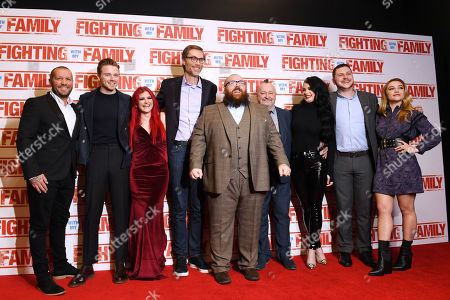 Stock Picture of Roy Knight, Jack Lowden, Saraya Knight, Stephen Merchant, Nick Frost, Ricky Knight, Paige Knight, Zak Knight and Florence Pugh attending the UK Premiere of Fighting With My Family