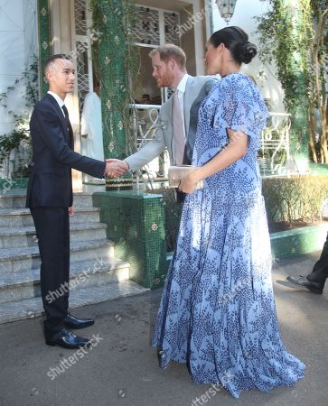 The Duke (C) and Duchess (R) of Sussex are greeted by Moulay Hassan (L), Crown Prince of Morocco, ahead of an audience with King Mohammed VI of Morocco, at his residence in Rabat, on the third day of their tour of Morocco, 25 February 2019.