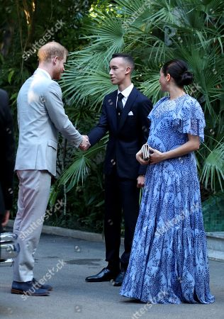 The Duke (L) and Duchess of Sussex (R) are greeted by Moulay Hassan (C), Crown Prince of Morocco, ahead of an audience with King Mohammed VI of Morocco, at his residence in Rabat, on the third day of their tour of Morocco, 25 February 2019.