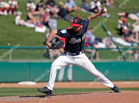 Atlanta Braves' Ian Anderson pitches against the Washington Nationals in a spring baseball exhibition game, in Kissimmee, Fla