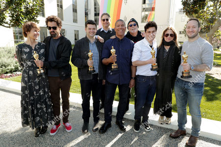February 25, 2019 - Kristine Belson, President of Sony Pictures Animation, Director Bob Persichetti, Producer Christopher Miller, Tom Rothman - Chairman, Sony Pictures Entertainment Motion Picture Group, Director Peter Ramsey, Producer Avi Arad, Producer Phil Lord, Producer Christina Steinberg and Director Rodney Rothman seen at Sony Pictures and Sony pictures animation post Oscar celebration in Culver City, CA.